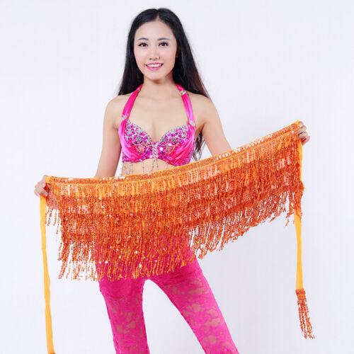 UK NEW Belly Dancer Costume Sequin Tassel Fringe Hip Scarf Belt Waist Wrap Skirt