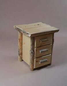 Image Is Loading Log End Table Night Stand 3 Drawers With