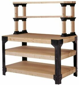 DIY-CUSTOM-WORKBENCH-Storage-Wooden-Shelf-Garage-Shop-Workshop-Table-Bench-Kit