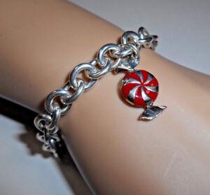 Tiffany-amp-Co-Enamel-Candy-Twist-Bon-Bon-Bracelet-Bangle-Link-Chain-Pouch-Silver