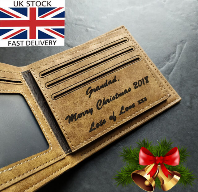 Personalised Engraved Mens Wallet Dad Leather Grandad Male Classic Brown Gift