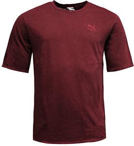 Puma-Mens-Distressed-Oversized-T-Shirt-Tee-Top-Burgundy-575307-01-EE142