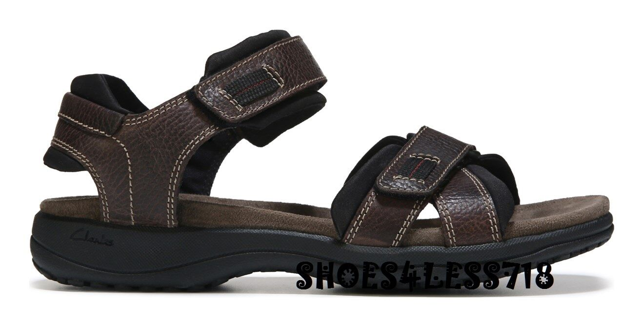 NEW Uomo CLARKS KEATING LEATHER COMFORT BROWN DOUBLE STRAP ANKLE STRAP SANDALS