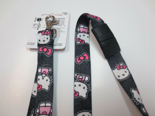 New Black Background Authentic Sanrio Hello Kitty Breakaway Lanyards