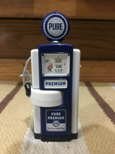 Pure Premium Gas Pump Miniature Display Vintage Style Globe Oil Decor Sign