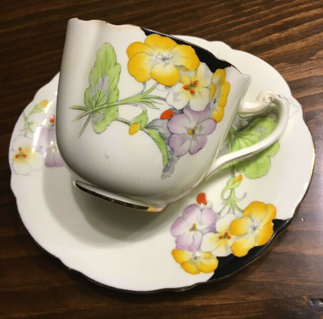 Antique PARAGON Art Deco Cup & Saucer Hand painted England Black Yellow Mauve