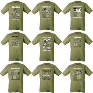 huge discount ac69c 4ba40 Details zu Herren Militär T-Shirt Armee 1. Weltkrieg WW2 Apache Spitfire  Typhoon Willys