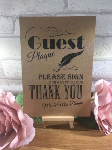 Personnalisé Invité plaque tableau signe Post mariage Kraft Carte Rustique A5 A4 A3
