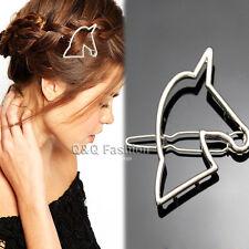 Blogger Silver Cut Out Unicorn Horse Hair Pin Clip Head Dress Snap Barrette Gift