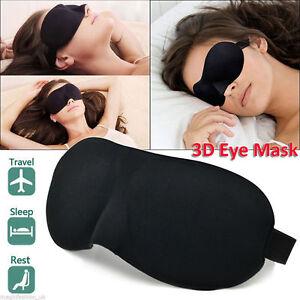 Soft Padded Blindfold 3D Eye Mask Travel Sleep Aid Shade Cover Unisex Black 759614536855