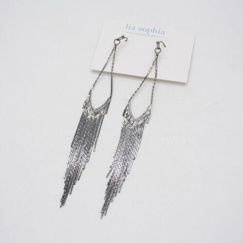 Lia Sophia Bijoux Noir Élégant Tassel Long Goutte Cerceau Dangle Boucles d/'oreilles pour femmes
