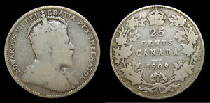 1909-Canada-Silver-Quarter-25-Cents-King-Edward-VII-Key-Date-VG-8