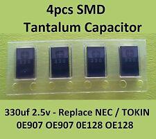 4 x SMD Tantalum Capacitor 330uf 2.5v Replace NEC/TOKIN 0E907 OE907 0E128 OE128