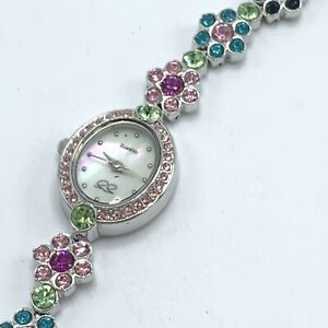 Suzanne Somers Crystal Daisies Watch Pink Rhinestone MOP Silver Tone Bracelet