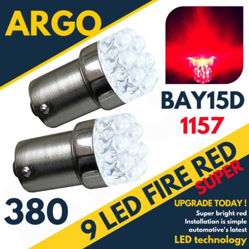 380 RED 9 LED STOP BRAKE TAIL LIGHT BULBS LAMPS 1157 BAY15D P21//5W X 2 PAIR 12V