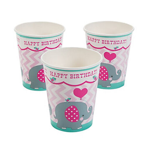 BABY ELEPHANT PARTY Cups Disposable Happy Birthday Elephants Paper Cup Pack of 8