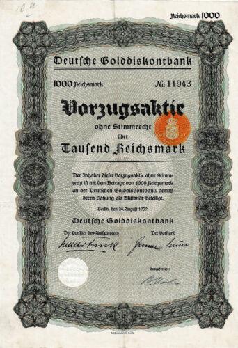 Deutsche Golddiskontbank Berlin 1t Vorzugsaktie 1939 Reichsbank Schacht Gold
