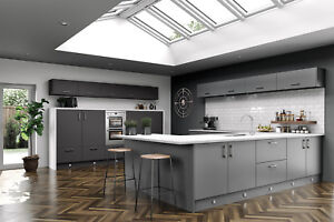 Details About Vivo Matt Dust Grey Slab Complete Kitchen Cabinets Units Cupboards With Doors