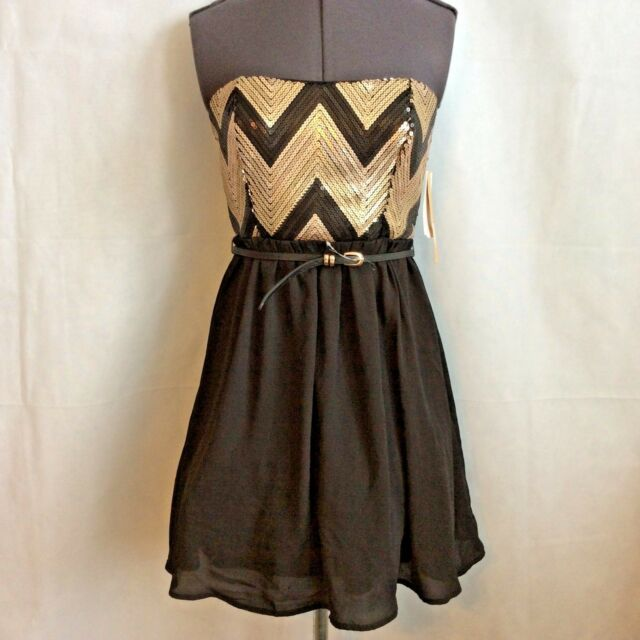 4e095ca2ac0 Takara by My Michelle Party Dress Size 5 Sequin Black Gold Taupe Homecoming  New
