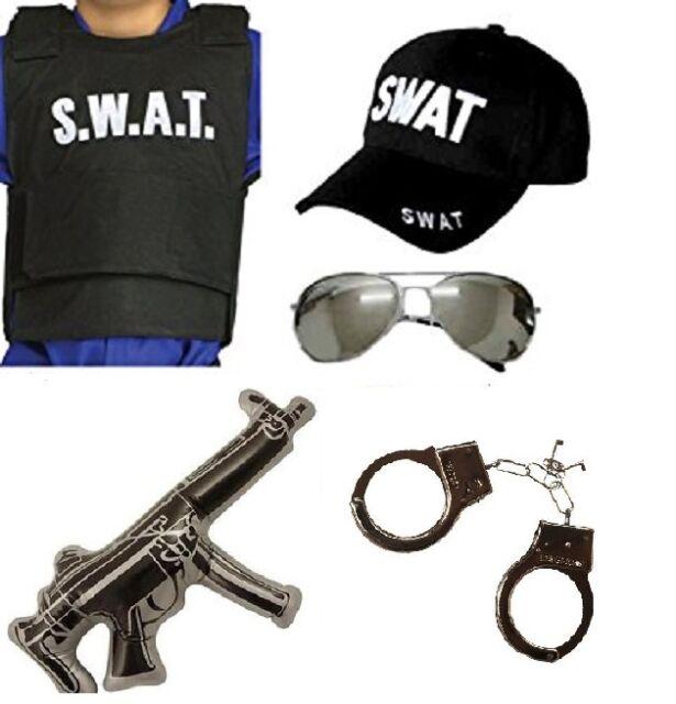 Unisex Adult SWAT Bullet Proof Vest Hat Glasses set Halloween Fancy Dress Party