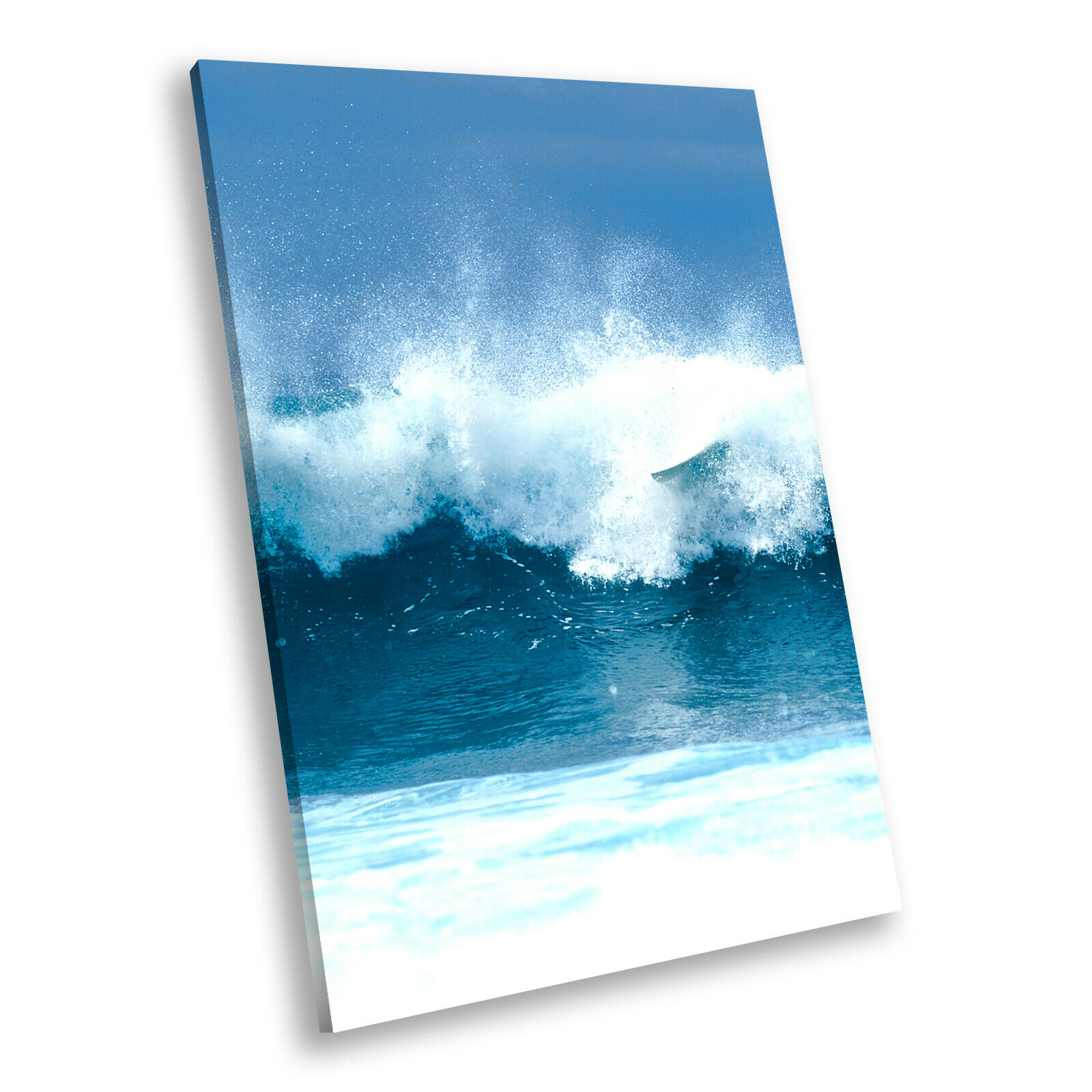 Blau Weiß Wave Summer Cool Portrait Scenic Canvas Wall Art Large Picture Prints
