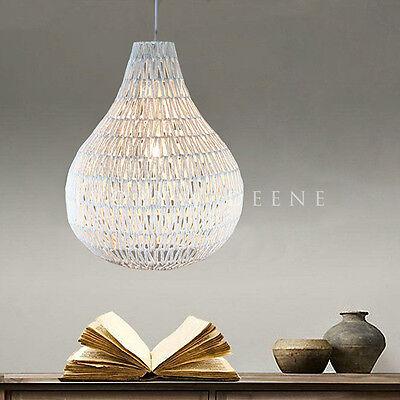 LARGE PENDANT LIGHT White Rope Pear Shape Hanging Lamp Beach House Lighting NEW