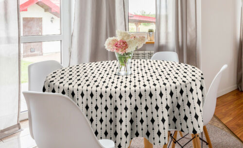 Ambesonne Geometric Detail Round Tablecloth Table Cover for Dining Room Kitchen
