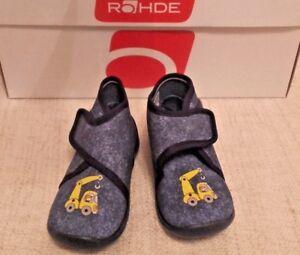 Details zu Rohde Schuhe Hausschuhe Kinderhausschuhe halbhoch Jungen blau Gr. 22 Bagger