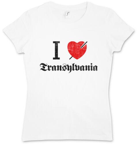 I LOVE TRANSYLVANIA DAMEN T-SHIRT Romania Fun Vampire Dracula Transylvanien