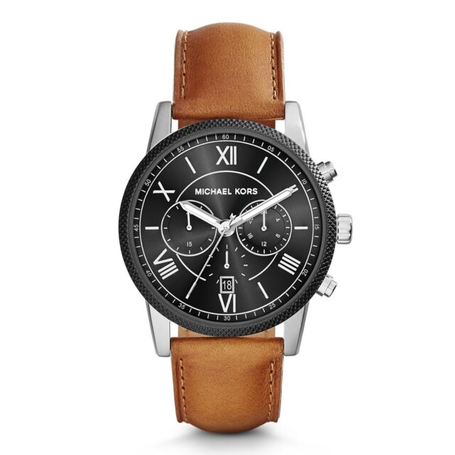 NEW MICHAEL KORS MK8394 MENS LEATHER HAWTHORNE WATCH - 2 YEAR WARRANTY