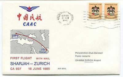 FFC 1985 Caac First Flight CA 937 Sharjah Zurich Philatelisten Club Swissair