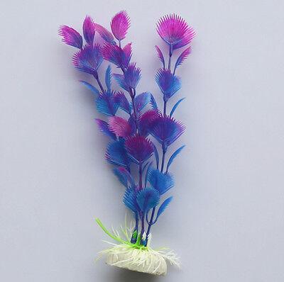 2x Blue Purple Fake Fish Tank Aquarium Plastic Water Plants Decoration Ornament