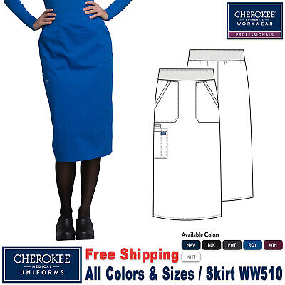 "Cherokee Workwear Scrubs 30/"" Knit Waistband Skirt WW510 PWT Pewter Free Shipping"