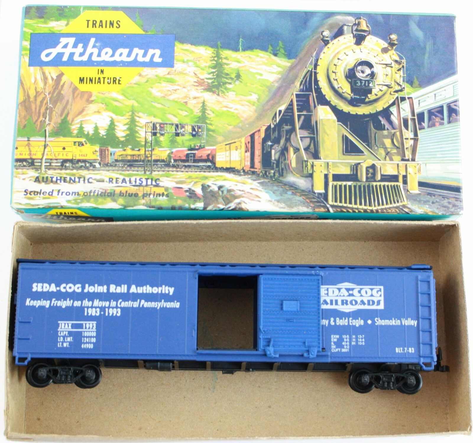 Athearn HO Scale Model Train Billboard Boxcar Seda-Cog Joint Rail Authority bluee