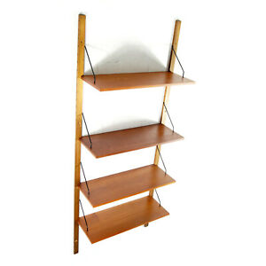 Retro-Vintage-Danish-Modern-Teak-Tall-Book-Shelves-Wall-System-Bookcase-60s-70s