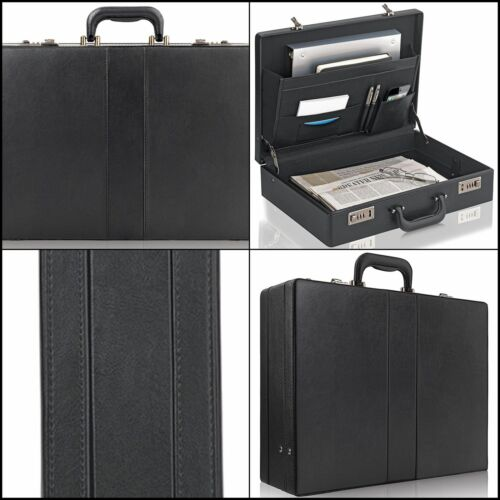 Attache Case Dual Combination Lock Mens Womens Travel Hard-sided Briefcase Black