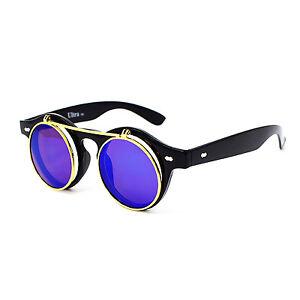 Flip-Up-Circle-Steampunk-Glasses-Goggles-Sunglasses-Emo-Retro-Vintage-Cyber-Punk