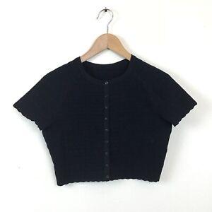 Azzedine-Alaia-Cardigan-Sweater-40-Black-Perforated-Crop-Knit-Shrug-Women-s