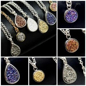 Wholesale-Druzy-Agate-Crystal-Gold-AB-Teardrop-Pendant-Silver-Plat-Necklace-16-034