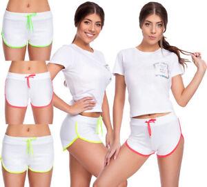 Womens-Sport-Shorts-Neon-Drawstring-amp-Panel-Activewear-Gym-Casual-Pants-FZ138