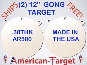 American-Cible-AR500-ACIER-3-8-tir-cible-12-in-environ-30-48-cm-Round-Gong-Target