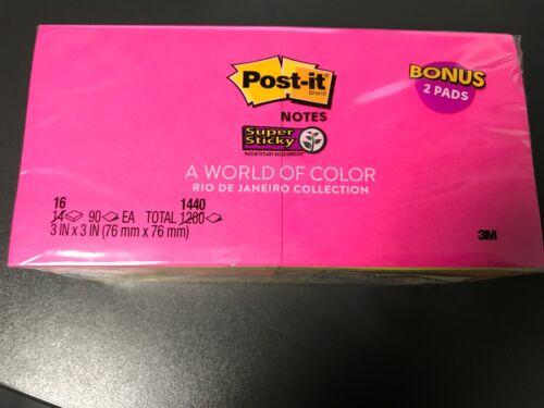 "16 pack Post-it Notes World of Color Rio de Janeiro 3/"" x 3/"" 90//1440 pgs Assort"
