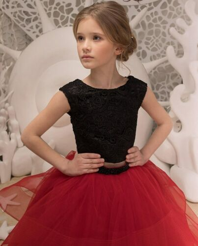 Two Piece Kids Black Flower Girl Dress Princess Gown TUTU For Wedding Prom Party