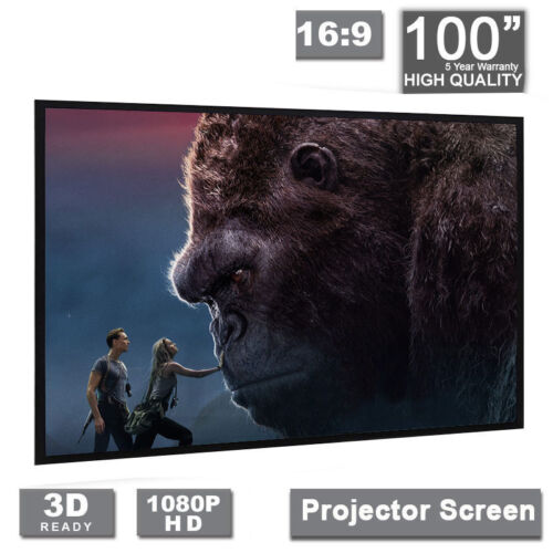 """100/"""" inch Projector Projection Screen 16:9 White Matte 3D HD Home Cinema Theater"""