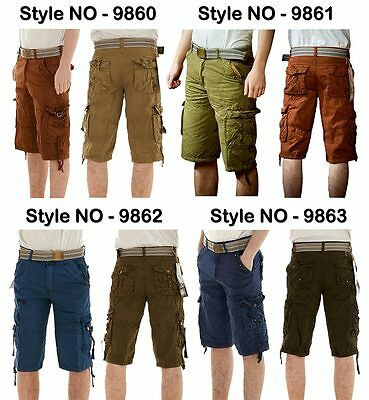 Men Chinos Cargo Combat Long Summer Pants Bottom Bermuda Shorts 100% Cotton