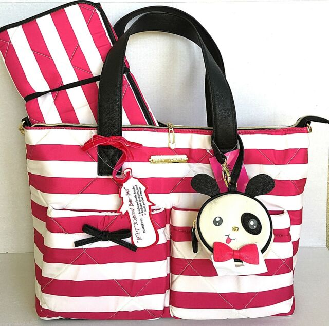 Betsey Johnson Diaper Bag Nylon Large Quilt 3 Piece Baby Tote Stripes Bow Pink