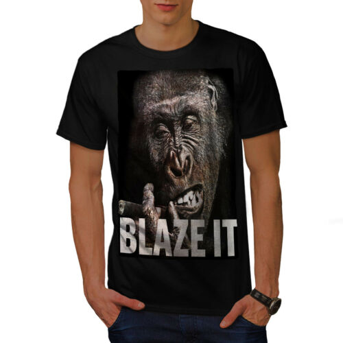 Ape Graphic Design Printed Tee Wellcoda Blaze it Weed Pot Rasta Mens T-shirt