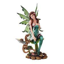 Green Fairy Faery and Tiger Dragon Statue Meadow Legend Design Fantasy Figurine