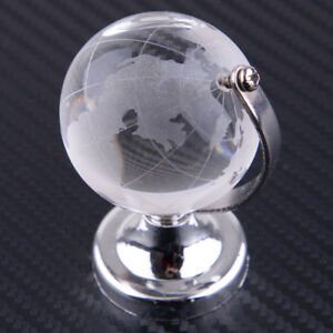 40mm-Klar-Glas-Globus-Glaskugel-Erde-Kristall-Erdkugel-Tisch-Staend-Deko-Geschenk