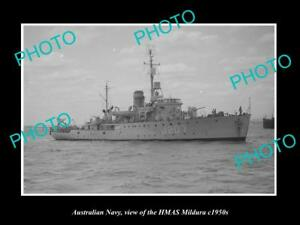 OLD-LARGE-HISTORIC-PHOTO-OF-AUSTRALIAN-NAVY-SHIP-HMAS-MILDURA-c1950